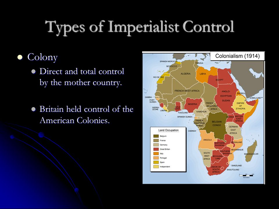 Types of Imperialist Control Colony Colony Direct and total control by the mother country.