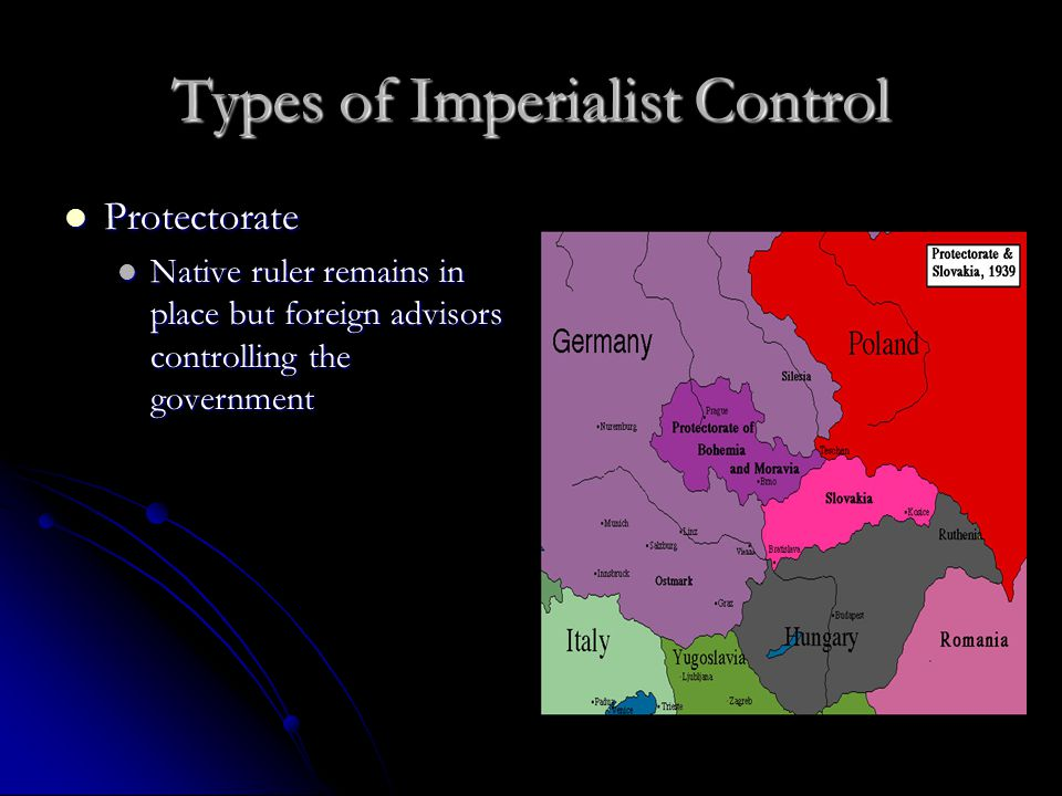 Types of Imperialist Control Protectorate Protectorate Native ruler remains in place but foreign advisors controlling the government Native ruler remains in place but foreign advisors controlling the government