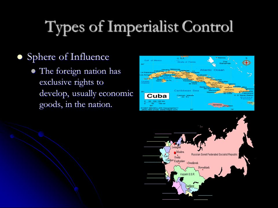 Types of Imperialist Control Sphere of Influence Sphere of Influence The foreign nation has exclusive rights to develop, usually economic goods, in the nation.