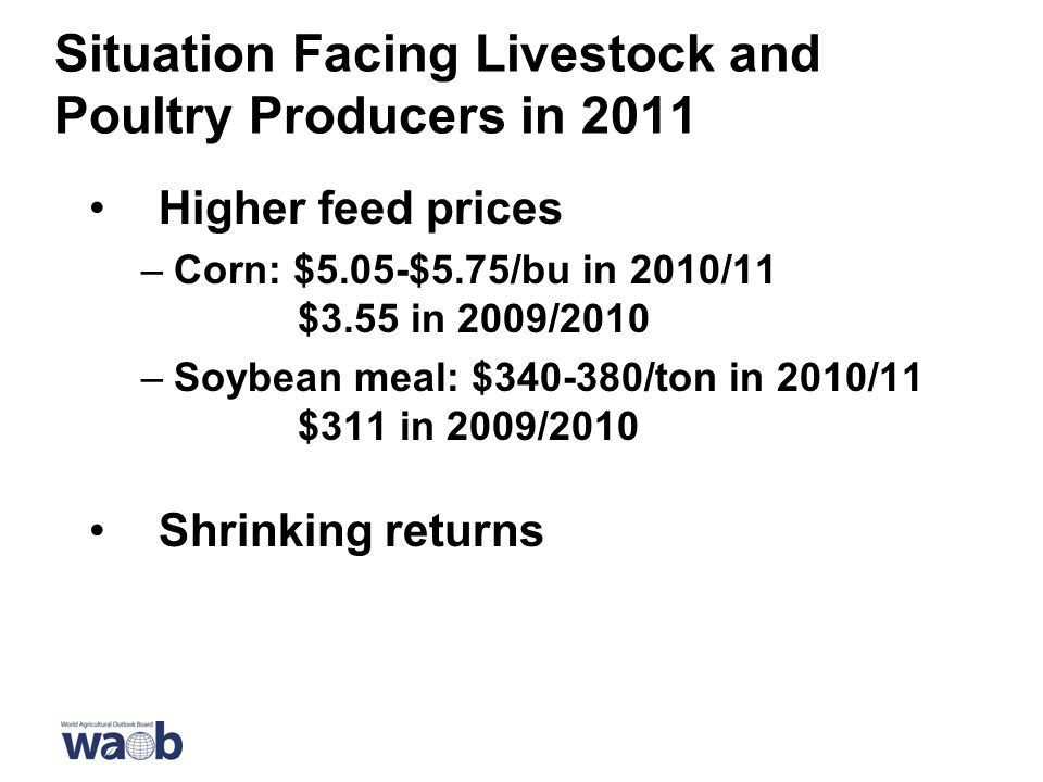 Situation Facing Livestock and Poultry Producers in 2011 Higher feed prices –Corn: $5.05-$5.75/bu in 2010/11 $3.55 in 2009/2010 –Soybean meal: $ /ton in 2010/11 $311 in 2009/2010 Shrinking returns