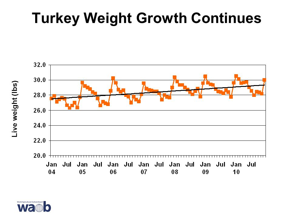 Turkey Weight Growth Continues Live weight (lbs)