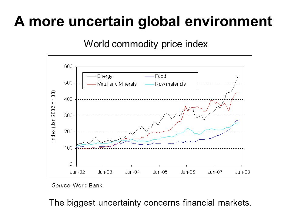 A more uncertain global environment World commodity price index Source: World Bank The biggest uncertainty concerns financial markets.