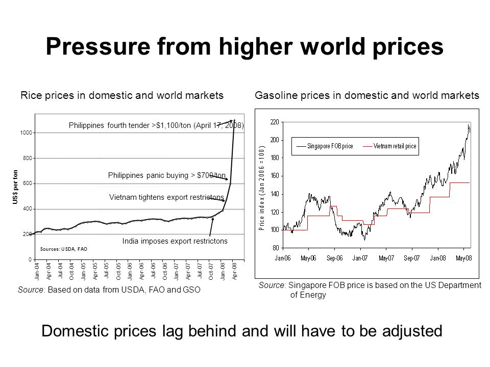 Pressure from higher world prices Rice prices in domestic and world markets Gasoline prices in domestic and world markets Source: Based on data from USDA, FAO and GSO Source: Singapore FOB price is based on the US Department of Energy Domestic prices lag behind and will have to be adjusted
