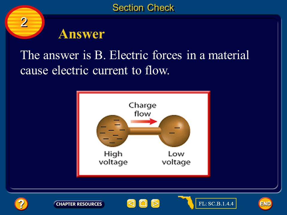 Section Check A. An open circuit B. Electric current C.