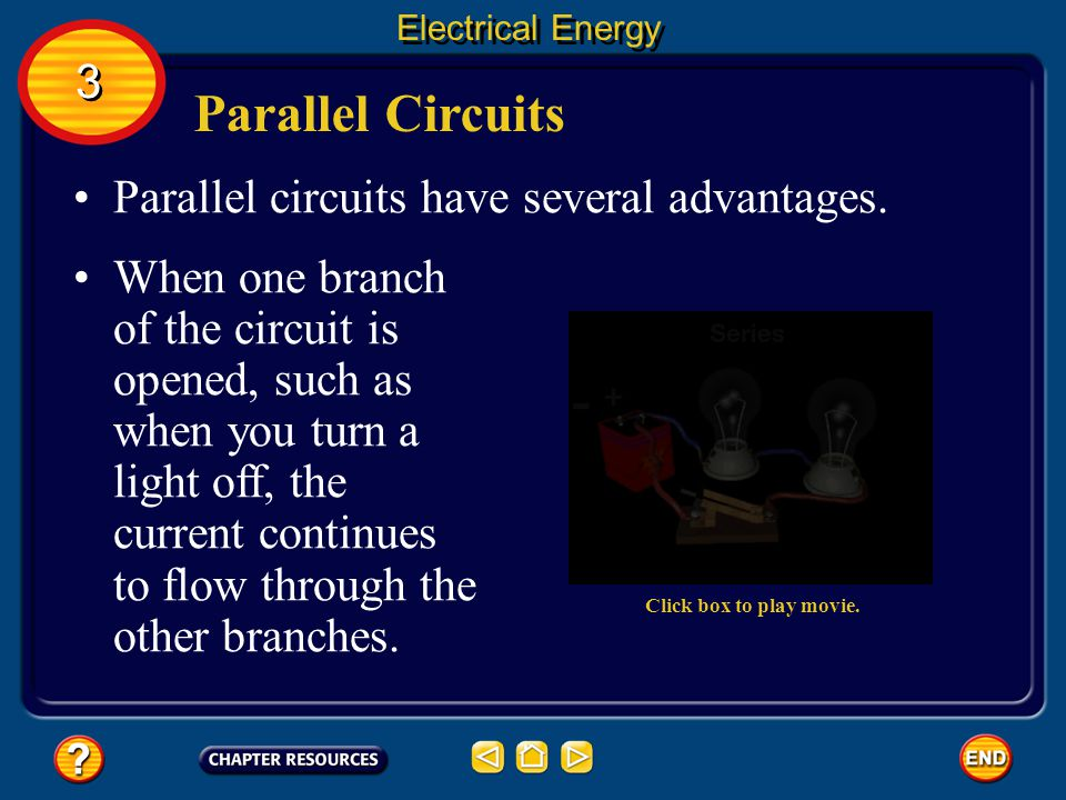 Parallel Circuits Houses are wired with parallel circuits.