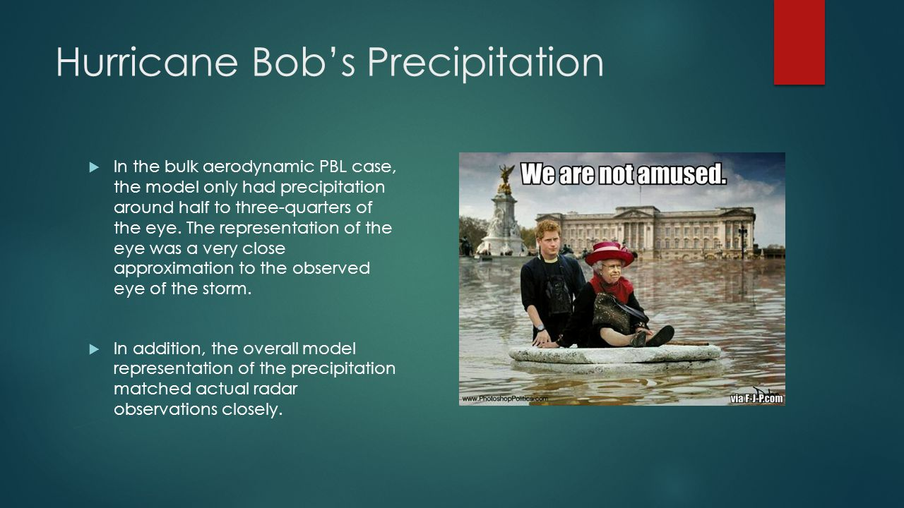 Hurricane Bob's Precipitation  In the bulk aerodynamic PBL case, the model only had precipitation around half to three-quarters of the eye.