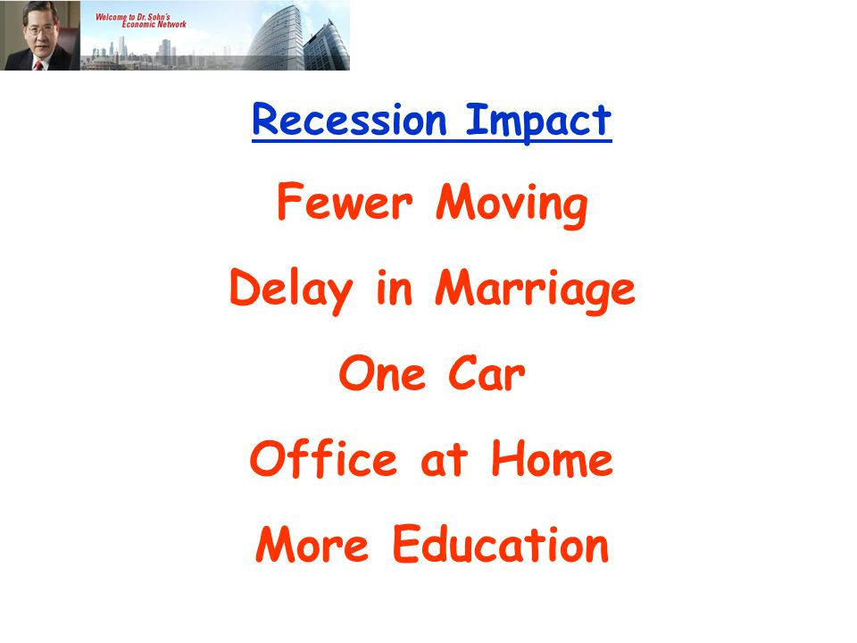 Recession Impact Fewer Moving Delay in Marriage One Car Office at Home More Education