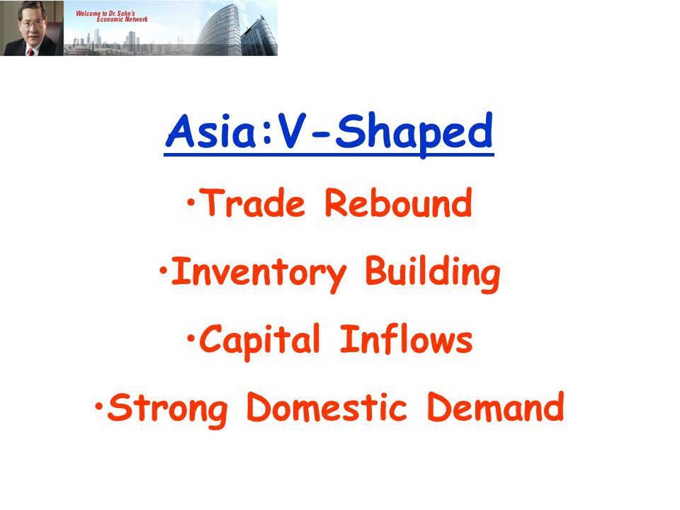 Asia:V-Shaped Trade Rebound Inventory Building Capital Inflows Strong Domestic Demand Weak Financial Sys.
