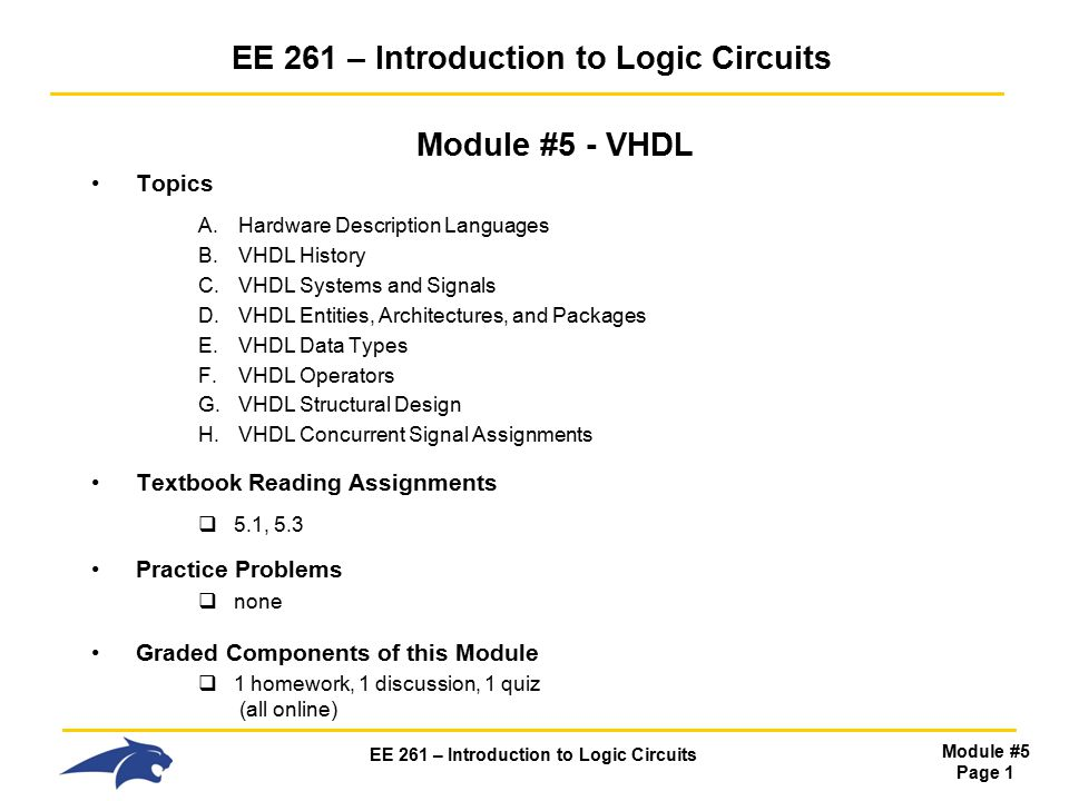 EE 261 – Introduction to Logic Circuits Module #5 Page 1 EE 261 ...