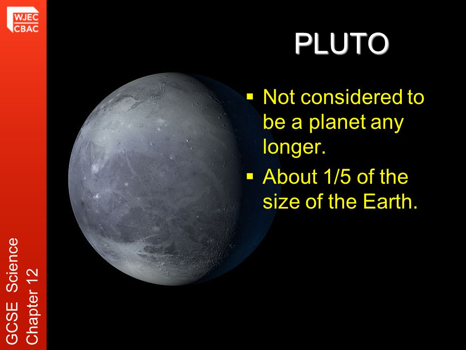 PLUTO  Not considered to be a planet any longer.  About 1/5 of the size of the Earth.