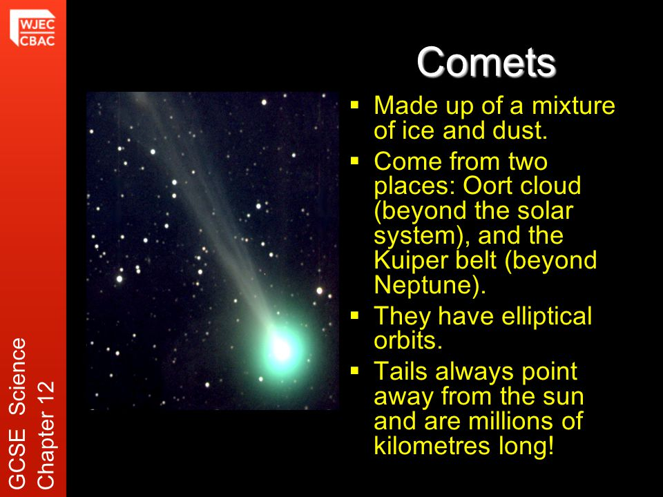 Comets  Made up of a mixture of ice and dust.