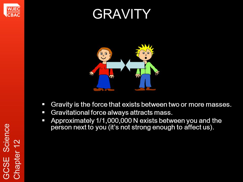 GRAVITY  Gravity is the force that exists between two or more masses.