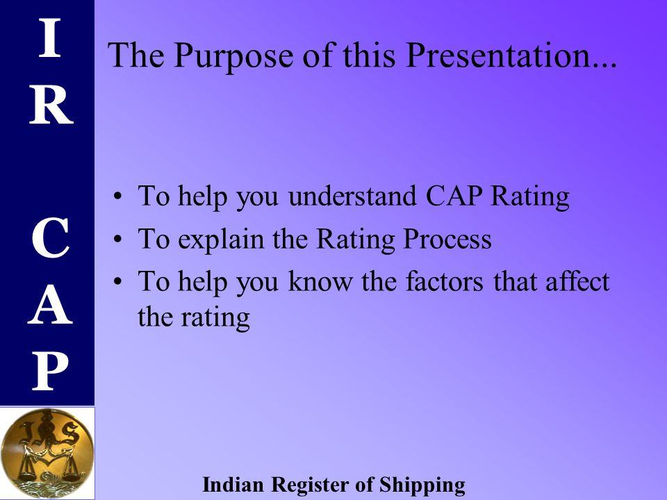 IR CAPIR CAP Indian Register of Shipping IR-CAP Condition Assessment