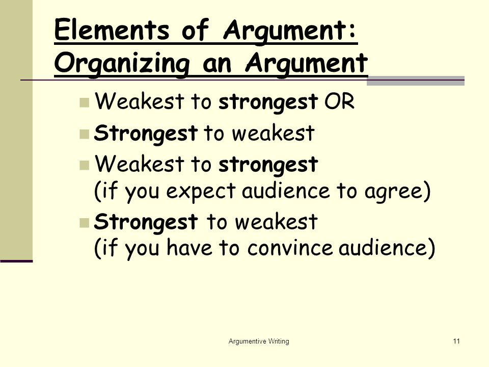 Argumentive Writing11 Elements of Argument: Organizing an Argument Weakest to strongest OR Strongest to weakest Weakest to strongest (if you expect audience to agree) Strongest to weakest (if you have to convince audience)