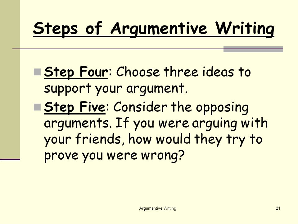 Argumentive Writing21 Steps of Argumentive Writing Step Four: Choose three ideas to support your argument.