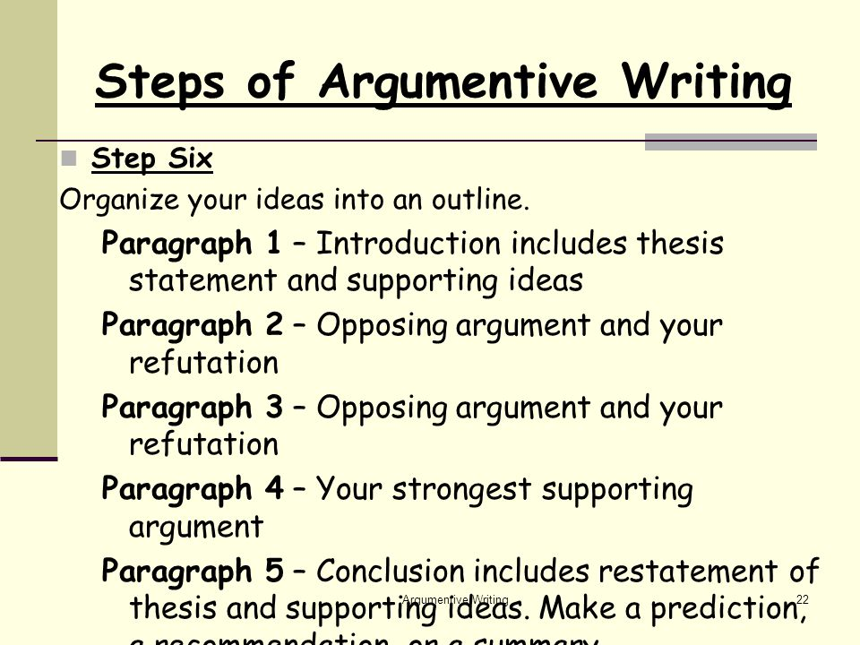 Argumentive Writing22 Steps of Argumentive Writing Step Six Organize your ideas into an outline.