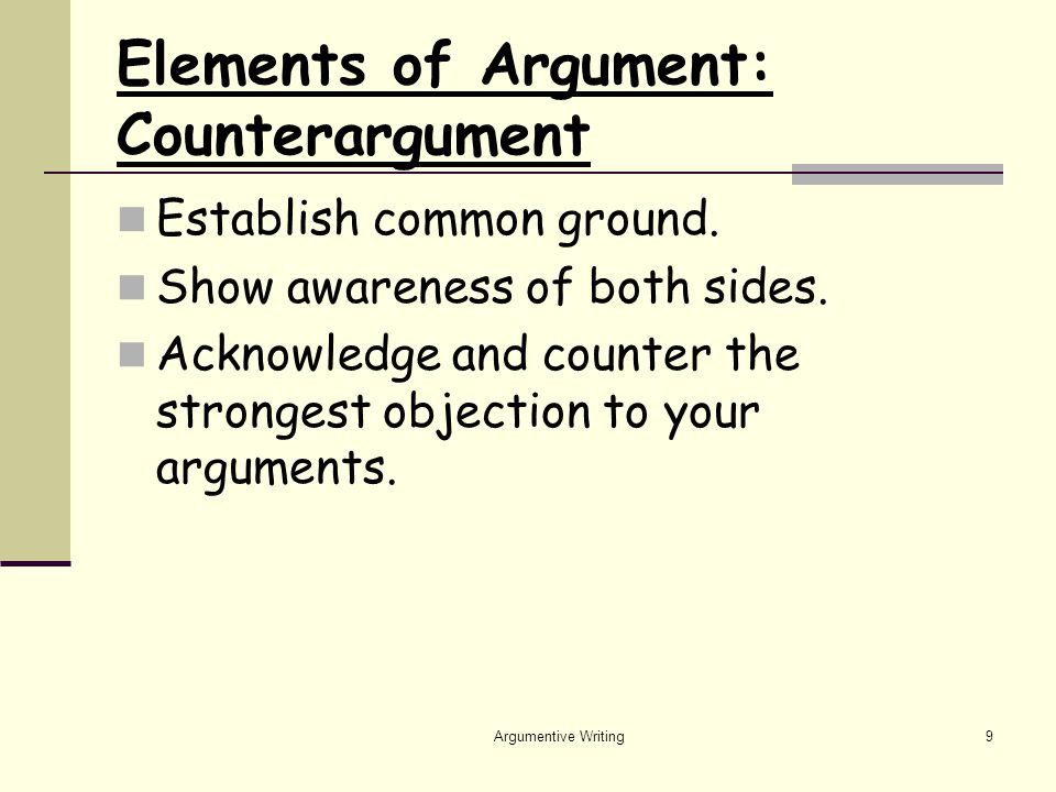 Argumentive Writing9 Elements of Argument: Counterargument Establish common ground.