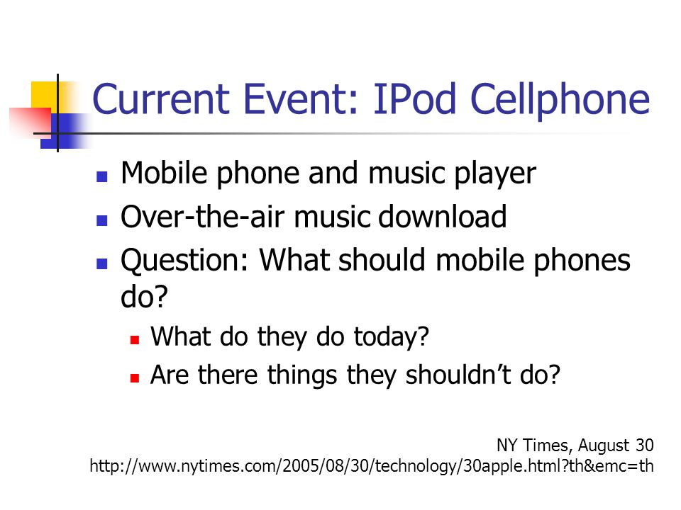 1 September Perception vs  Reality  Current Event: IPod Cellphone
