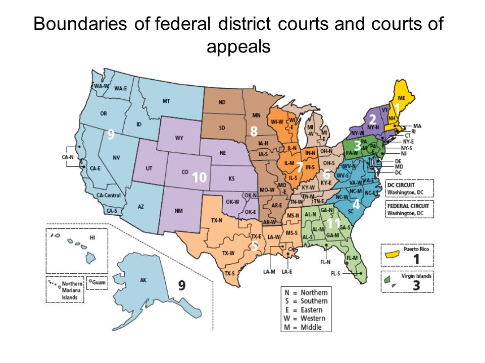 Boundaries of federal district courts and courts of appeals