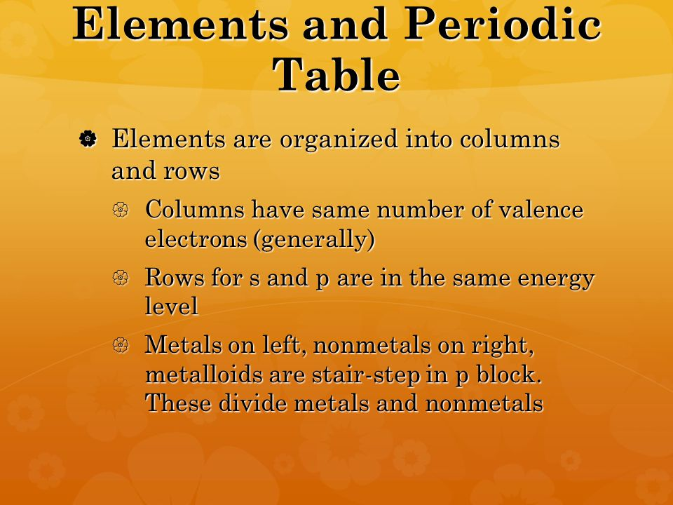 Elements and Periodic Table  Elements are organized into columns and rows  Columns have same number of valence electrons (generally)  Rows for s and p are in the same energy level  Metals on left, nonmetals on right, metalloids are stair-step in p block.