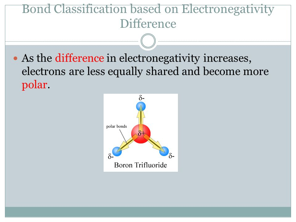 Bond Classification based on Electronegativity Difference As the difference in electronegativity increases, electrons are less equally shared and become more polar.
