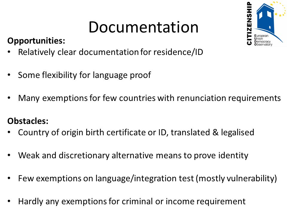 Administrative opportunities and obstacles in naturalisation ...