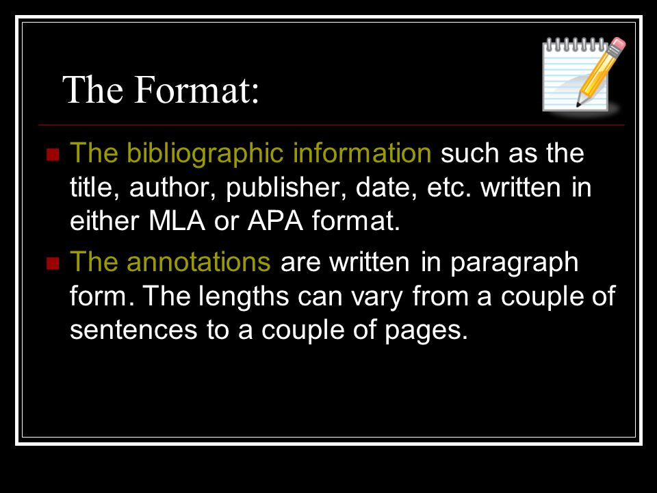 The Format: The bibliographic information such as the title, author, publisher, date, etc.