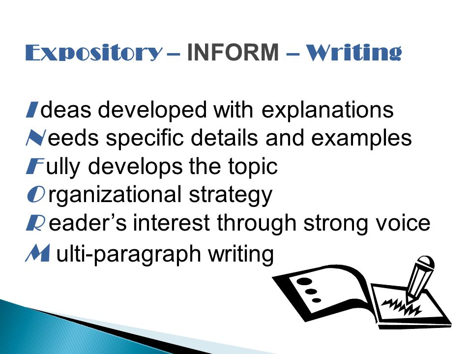 Expository – INFORM – Writing I deas developed with explanations N eeds specific details and examples F ully develops the topic O rganizational strategy R eader's interest through strong voice M ulti-paragraph writing
