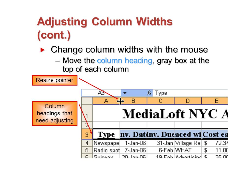 Adjusting Column Widths (cont.)  Change column widths with the mouse –Move the column heading, gray box at the top of each column Resize pointer Column headings that need adjusting