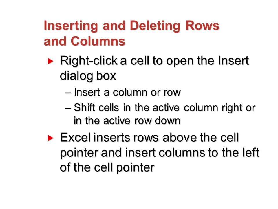 Inserting and Deleting Rows and Columns  Right-click a cell to open the Insert dialog box –Insert a column or row –Shift cells in the active column right or in the active row down  Excel inserts rows above the cell pointer and insert columns to the left of the cell pointer