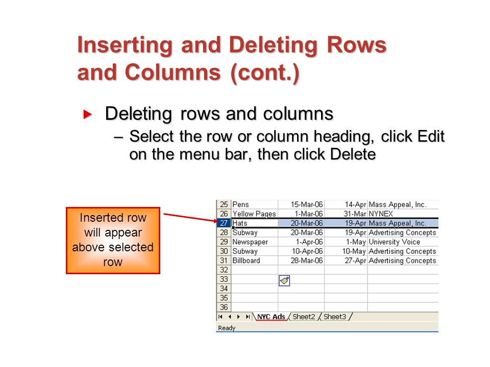 Inserting and Deleting Rows and Columns (cont.)  Deleting rows and columns –Select the row or column heading, click Edit on the menu bar, then click Delete Inserted row will appear above selected row