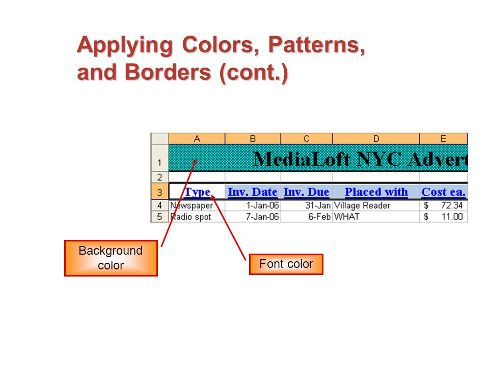 Applying Colors, Patterns, and Borders (cont.) Background color Font color
