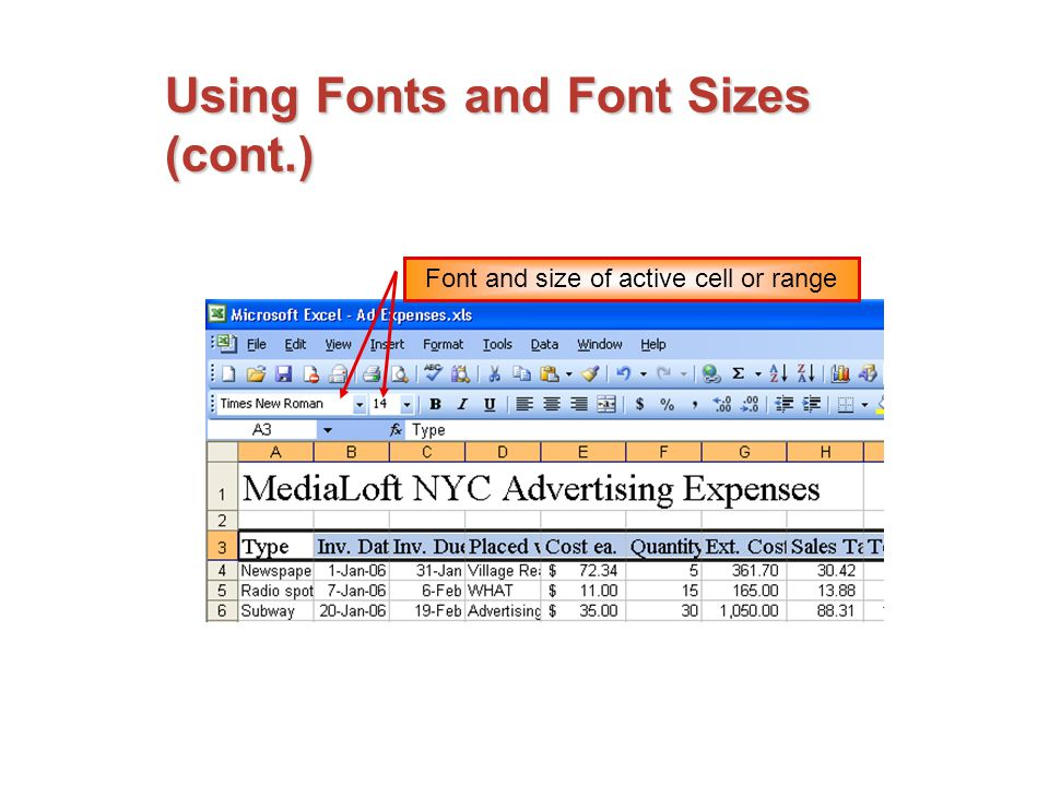 Using Fonts and Font Sizes (cont.) Font and size of active cell or range