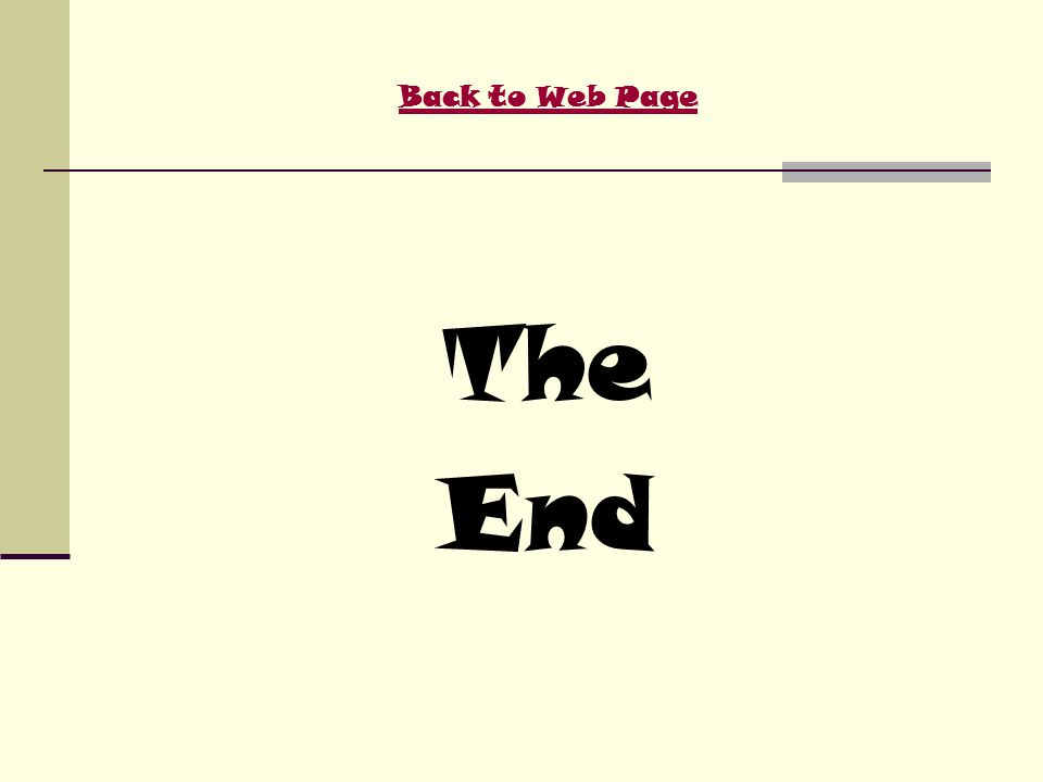 Back to Web Page The End
