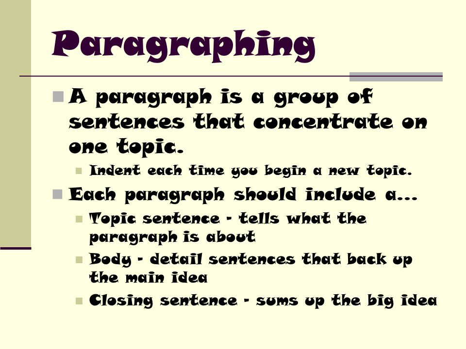 Paragraphing A paragraph is a group of sentences that concentrate on one topic.