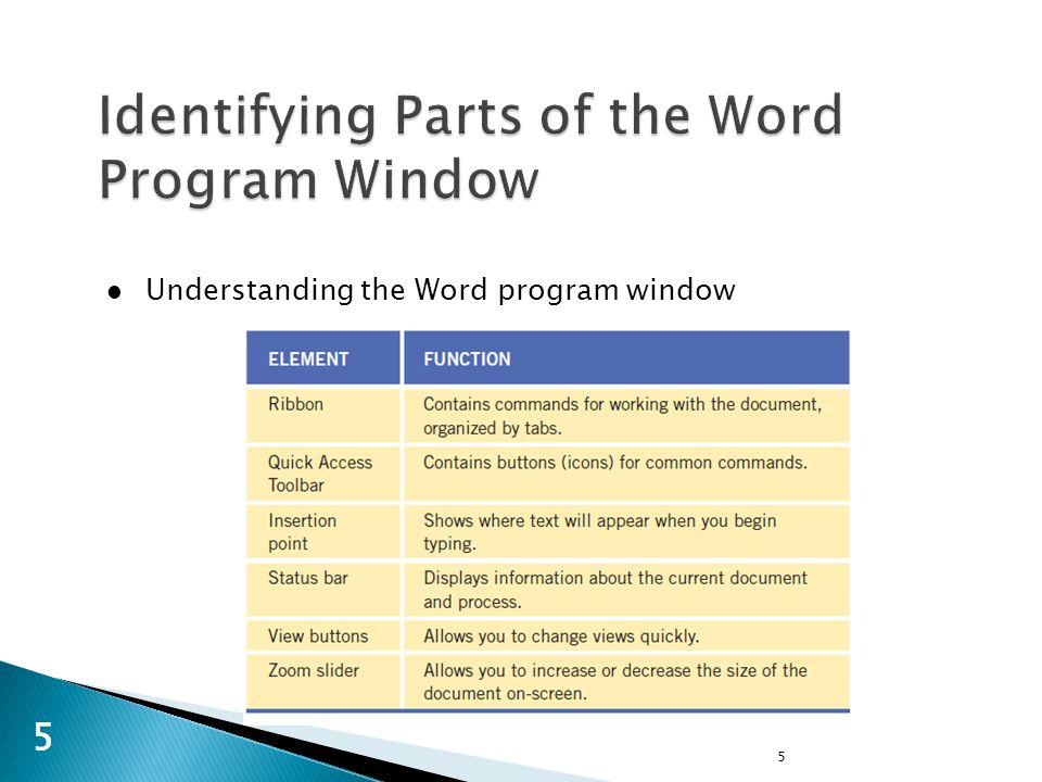5 55 Understanding the Word program window