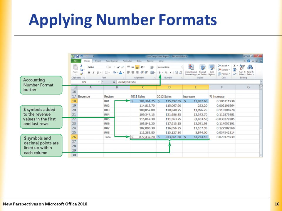 XP New Perspectives on Microsoft Office Applying Number Formats