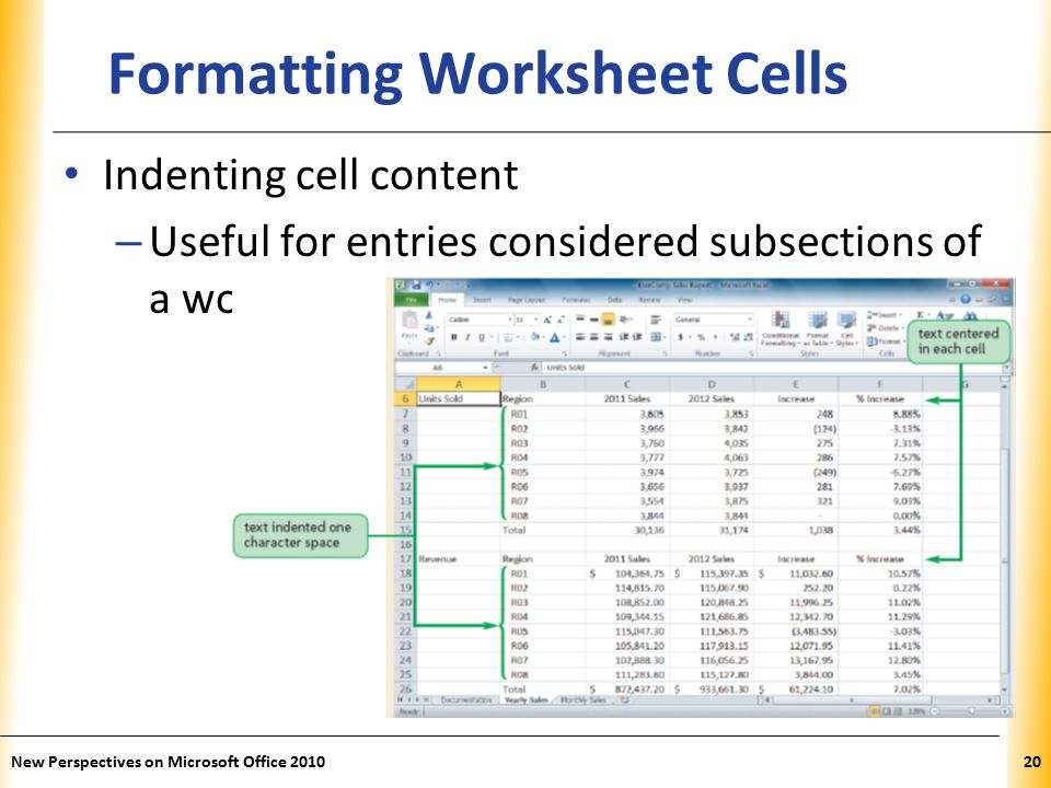 XP New Perspectives on Microsoft Office Formatting Worksheet Cells Indenting cell content – Useful for entries considered subsections of a worksheet