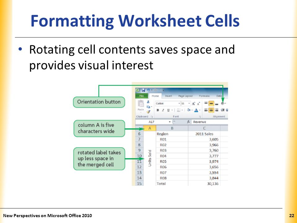 XP New Perspectives on Microsoft Office Formatting Worksheet Cells Rotating cell contents saves space and provides visual interest