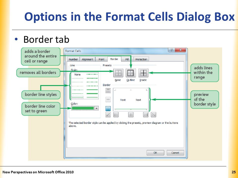 XP New Perspectives on Microsoft Office Options in the Format Cells Dialog Box Border tab