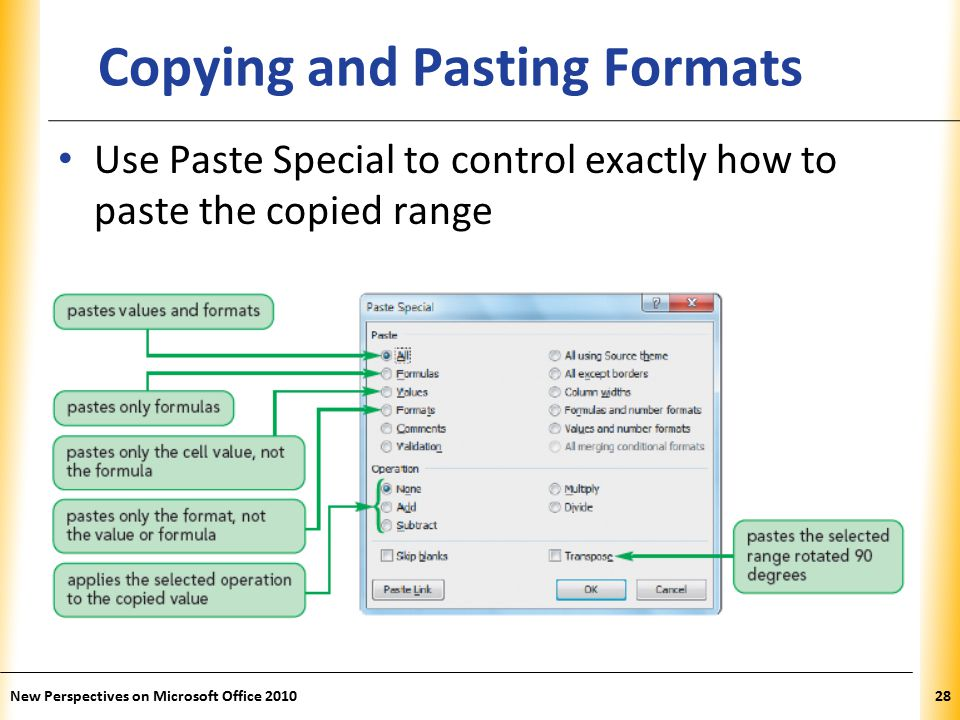 XP New Perspectives on Microsoft Office Copying and Pasting Formats Use Paste Special to control exactly how to paste the copied range
