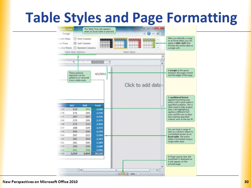 XP New Perspectives on Microsoft Office Table Styles and Page Formatting