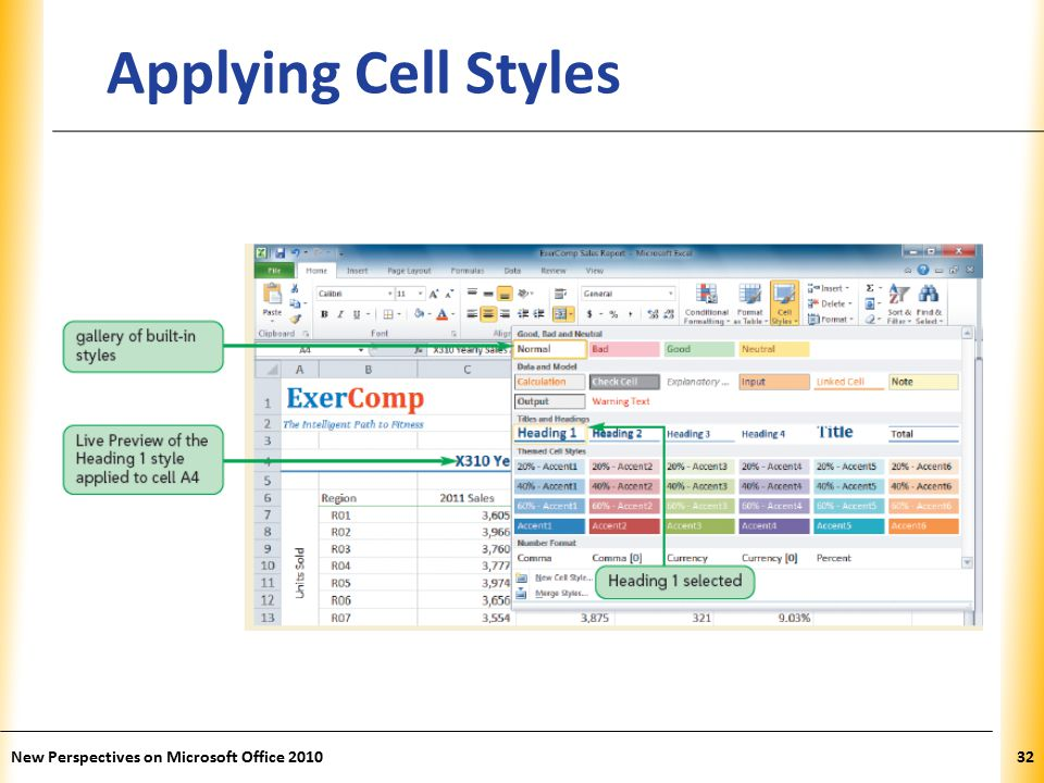 XP New Perspectives on Microsoft Office Applying Cell Styles