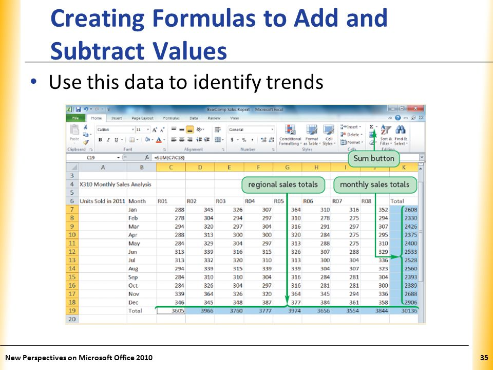 XP New Perspectives on Microsoft Office Creating Formulas to Add and Subtract Values Use this data to identify trends