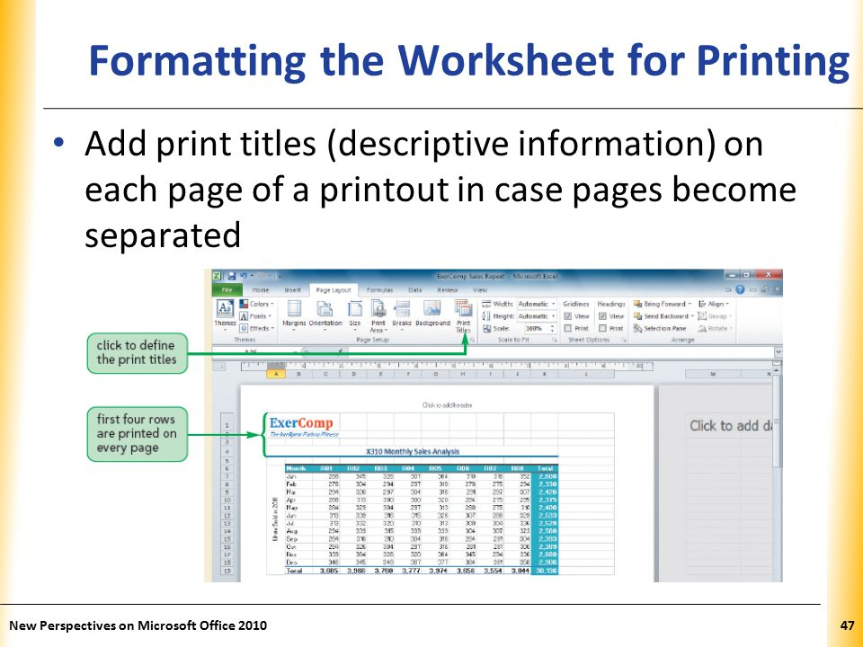 XP New Perspectives on Microsoft Office Formatting the Worksheet for Printing Add print titles (descriptive information) on each page of a printout in case pages become separated