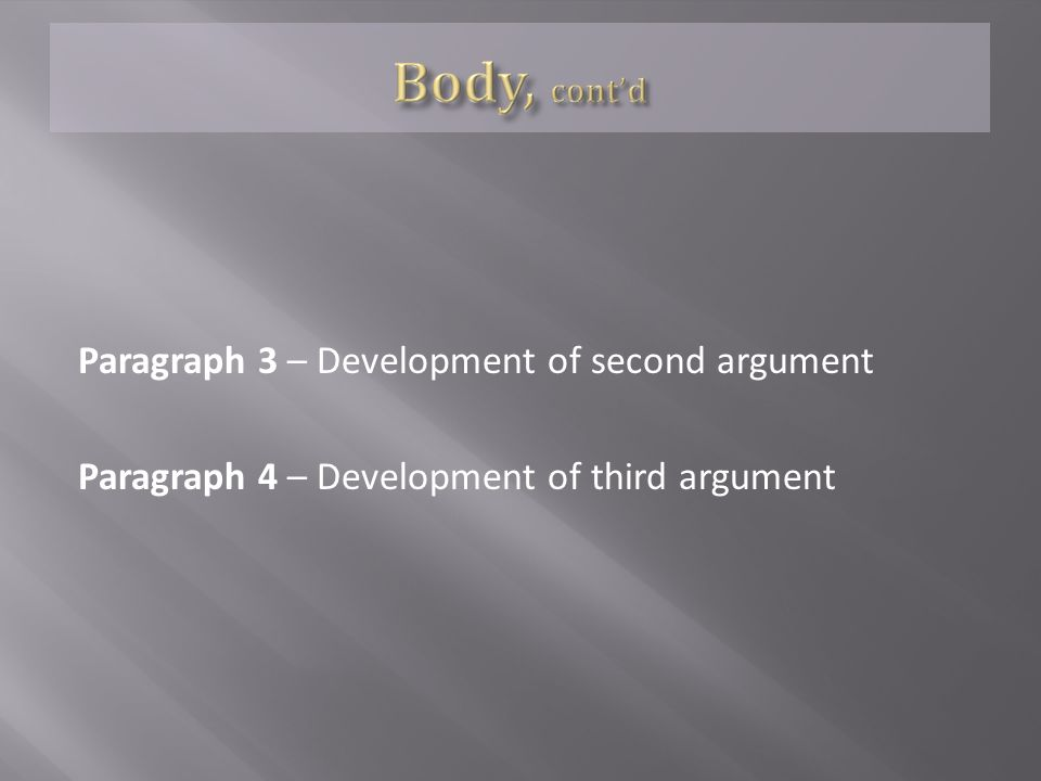 Paragraph 3 – Development of second argument Paragraph 4 – Development of third argument