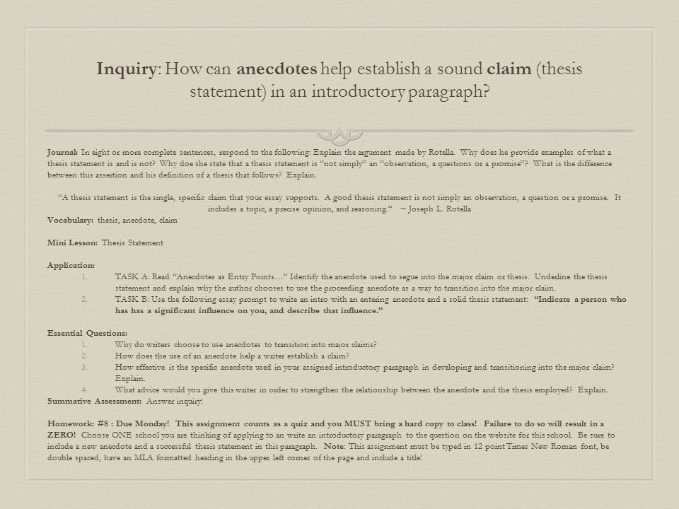 Inquiry How Can Anecdotes Help Establish A Sound Claim Thesis