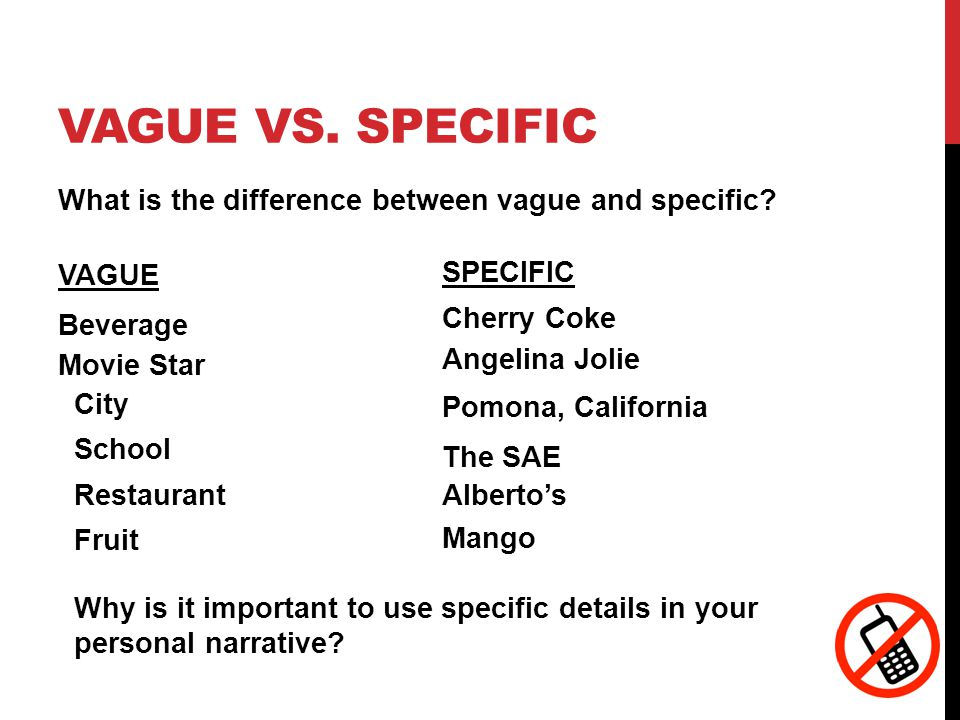 VAGUE VS. SPECIFIC What is the difference between vague and specific.
