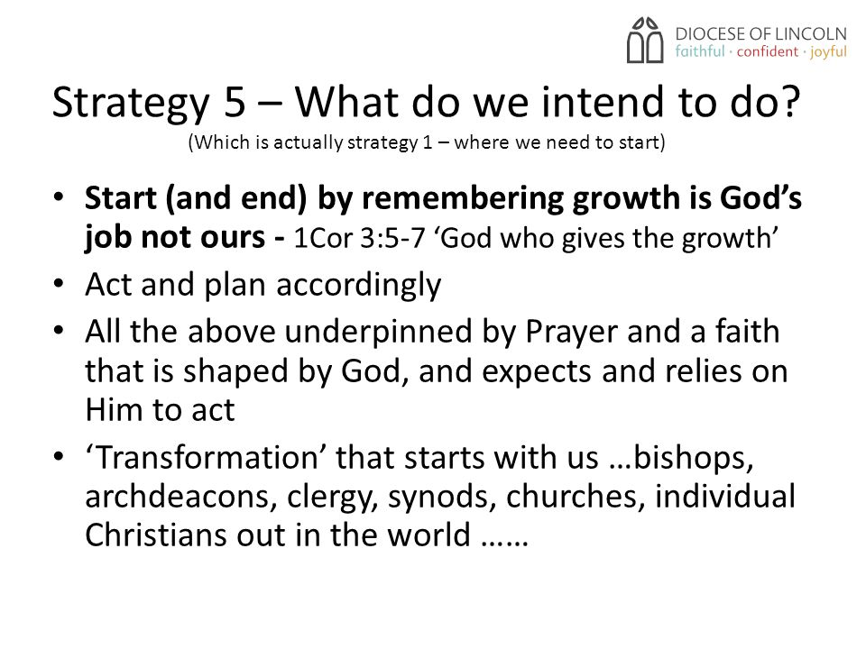 Strategy 5 – What do we intend to do.