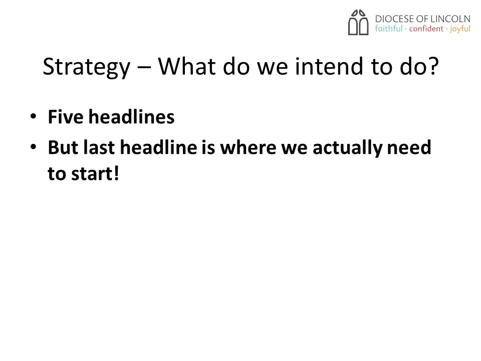 Strategy – What do we intend to do.